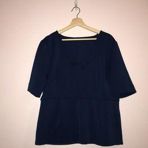 Ann Taylor XXL medium blue knit peplum top